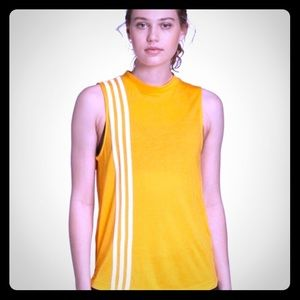 ADIDAS MUST HAVE 3 STRIPES TANK NWT YELLOW GOLD XL